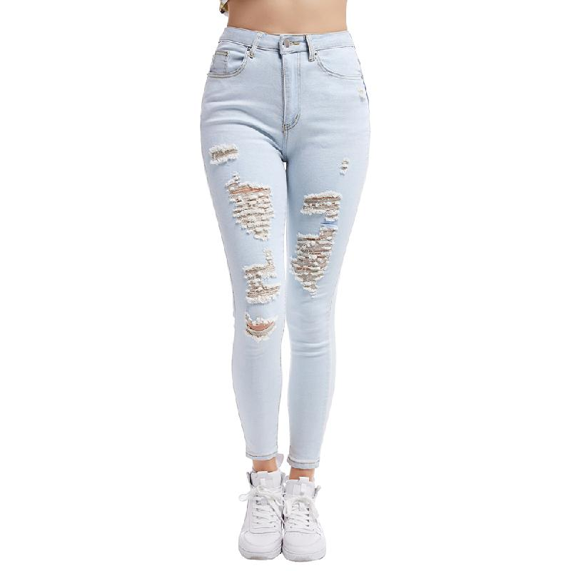 Bikitique 2020 New Blue Jeans Pencil Pants Women Middle Waist Slim Hole Ripped Denim Jeans Lady Casual Stretch Trousers