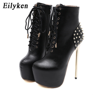 Eilyken Ultra High Heel Pumps Fashion Round Toe Rivet Woman Lace Up Platform Ankle Boots Metal Stiletto Heels Spring Autumn New