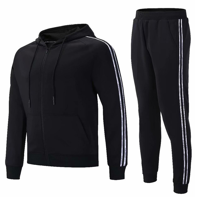 Wholesale New Style Winter Hooded Coat Men's College Student Leisure Sports Suit Fitness Running Training Skinny Pants