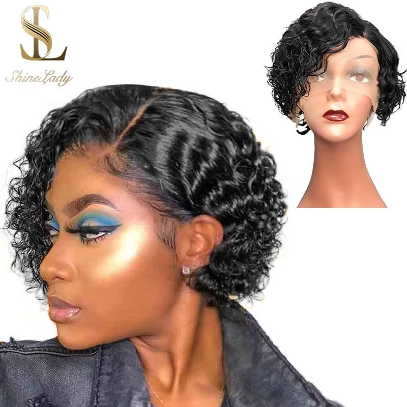 Shinelady parte parte dianteira do laço perucas de cabelo humano molhado e ondulado peruca cabelo humano 8 polegada brasileiro remy encaracolado cabelo curto para preto