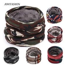 Зимний теплый повседневный Камуфляжный шарф для мужчин/женщин, зимняя бархатная вязаная шапка, Женский бархатный хлопковый шарф