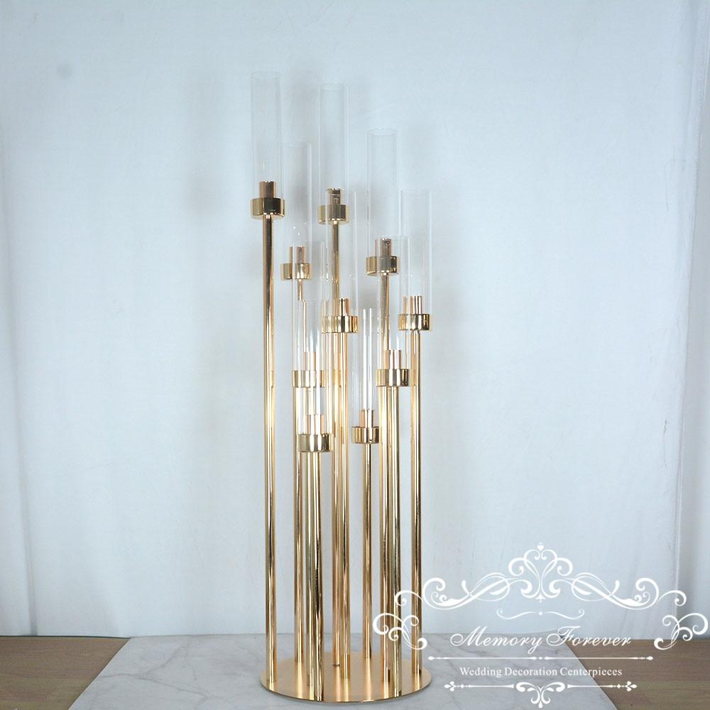 4 шт Новое прибытие 10 рук канделябры металлический подсвечник золотой центральный для мероприятия Свадебная вечеринка украшение домашний