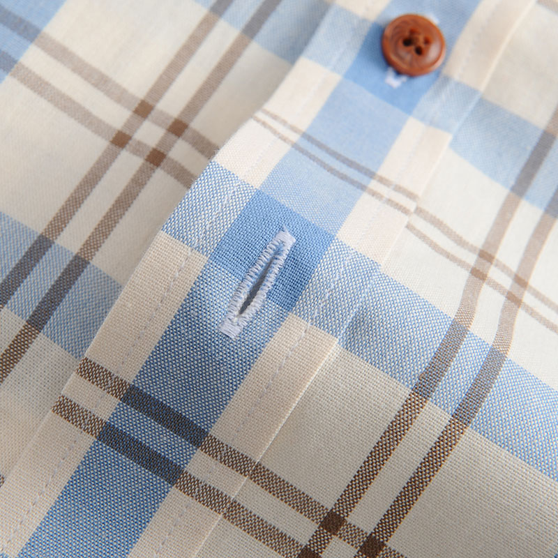 Men's 100% Cotton Long Sleeve Contrast Plaid Checkered Shirt Pocket-less Design Casual Standard-fit Button Down Gingham Shirts 5