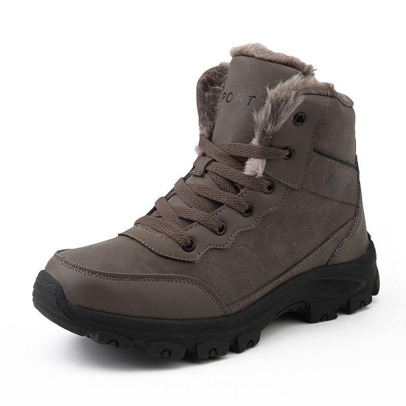 Super Warm Men Winter Boots Quality Waterproof Leather Outdoor Men Boots Fur Ankle Boots Plush Snow Boots Winter Men Shoes