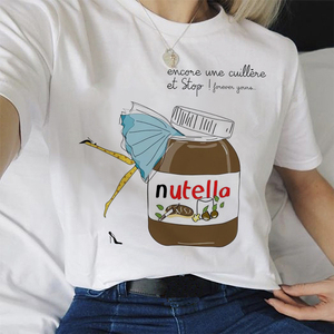 Nutella Aesthetic T-shirt Women Funny Print Tumblr Casual White Tee 2020 Summer Fashion Graphic Grunge Women Clothes(China)