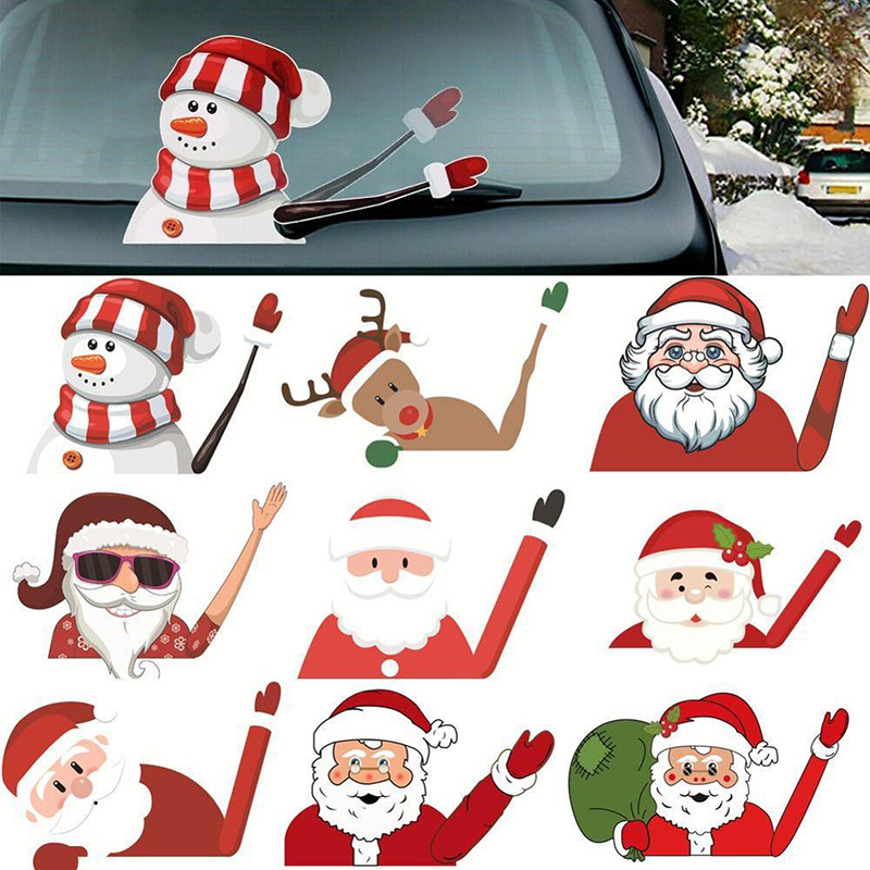 Christmas Car Stickers And Decals Santa Claus Waving Wiper Decals Car Styling Rear Window Wiper Stickers Rear Windshield Sticker