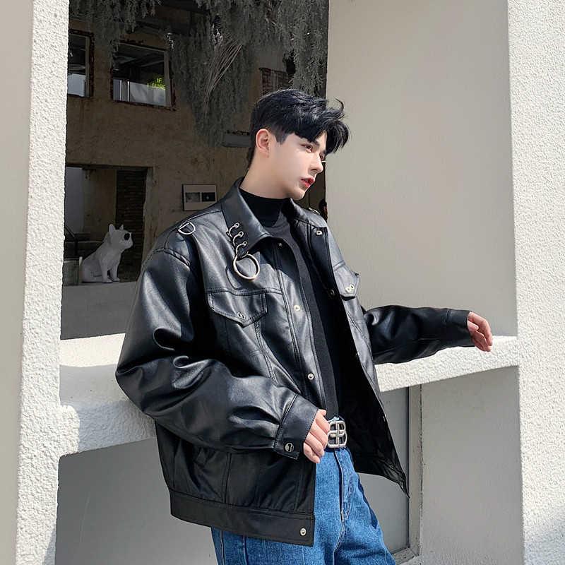 Streetwear גותי אופנוע מטען מעיל הלבשה עליונה פאנק היפ הופ מתכת טבעת אופנה עור מפוצל מעיל גברים גבוהה רחוב