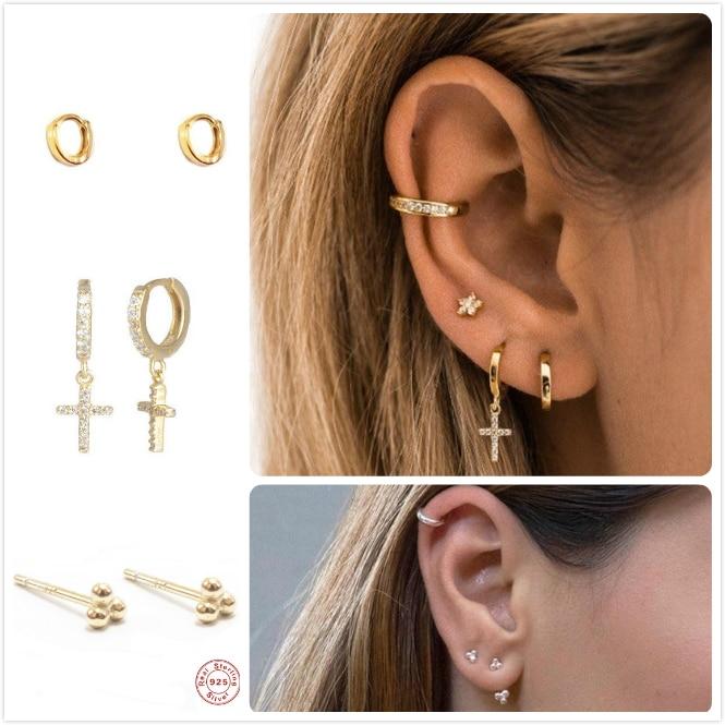 Punk 925 Sterling Silver Earrings For Women Gold Zircon Earrings Girl Ear Bone Piercing Earring Men Cross pendants aretes R5