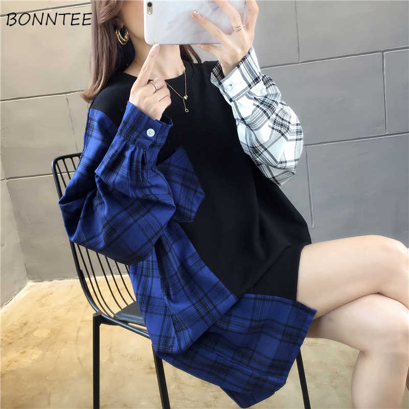 Hoodies Women O-neck Patchwork Simple All-macth Korean Style Harajuku Plaid Trendy Hip Hop Girls Oversized Pullover Leisure Chic