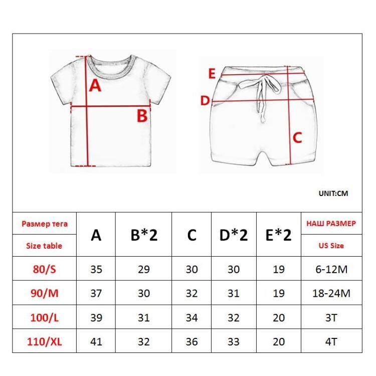 Baby Boy Girl Summer Sets Cotton Infant Children Clothes Cartoon Print Costume for Kids 1 2 3 4 Years Short Outfits 2 Pieces 6