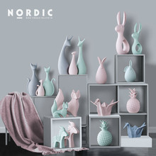 Nordic Ceramic Animal Crafts Ornaments Elephant Cat Deer Miniature Figurines Cute Home Decoration Accessories for Living Room