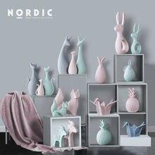 Adornos de animales artesanales de cerámica nórdica, figuritas en miniatura de elefante, gato, ciervo, decoración para la casa Mona, accesorios para sala de estar