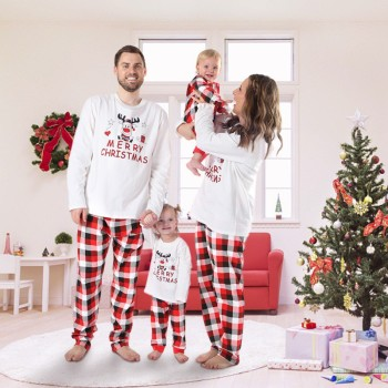 Christmas Family Pajamas Set Christmas Clothes Parent-child Suit Home Sleepwear Cotton Baby Kid Dad Mom Matching Family Outfits 1