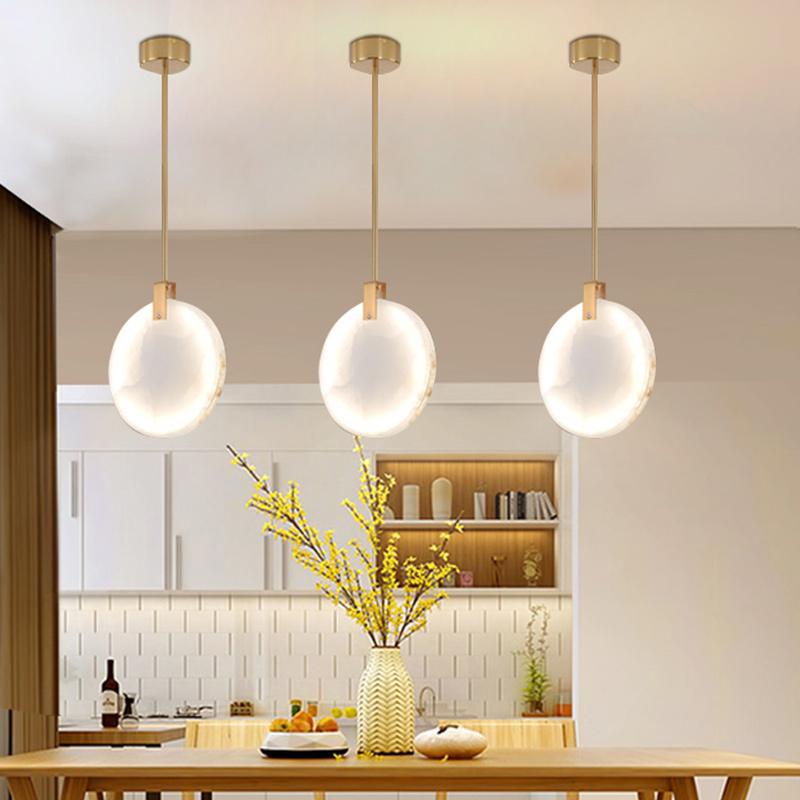 Natural Marble LED Pendant Lights Pipe/Cord Pendant Dining Room Light Bar Coffee Shop Pendant Lamp Indoor Hanglamp Loft Deco