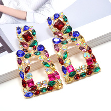 Wholesale ZA New Long Metal Hollowed-out Hanging Colorful Crystals Dangle Drop Earrings Fine Jewelry Accessories For Women
