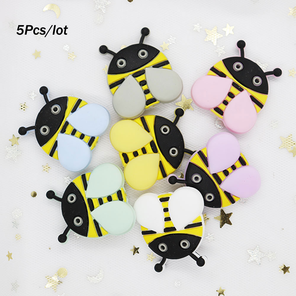 5Pcs Honeybee Silicone Beads 2.8cm Teething Toys Perle Silicone Dentition Rodent Siliconen Kralen Mordedor Bee Teething Beads