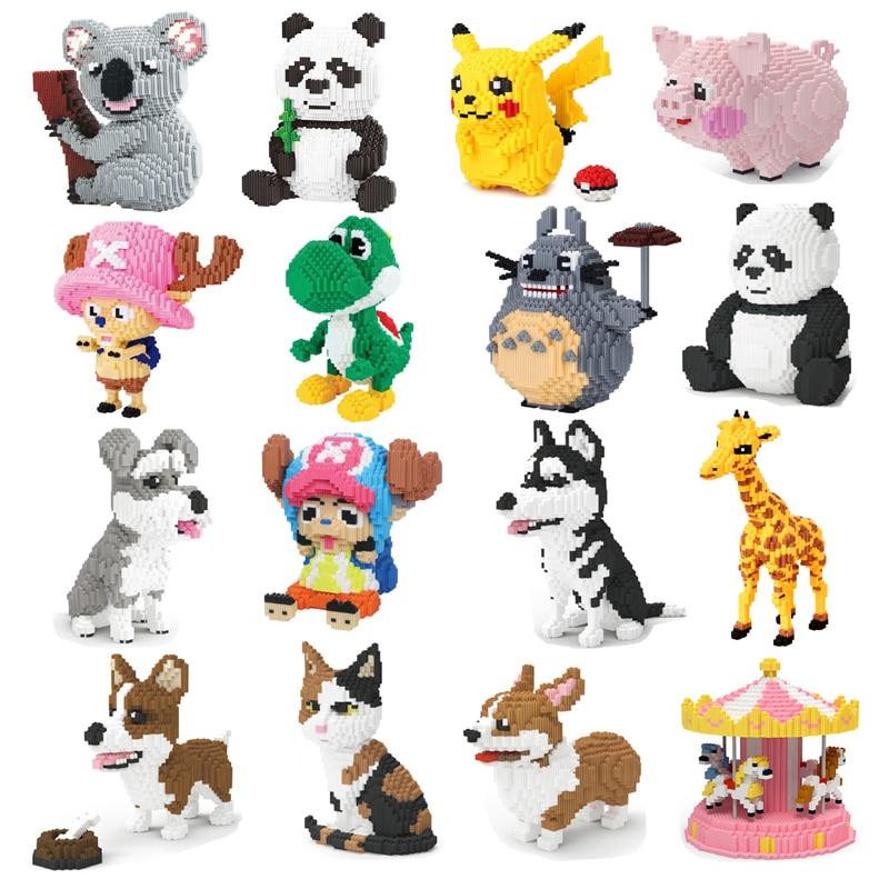 Xizai animal de estimação husky schnauzer corgi cão gato persa panda girafa porco pikachu mario yoshi diy mini blocos de construção brinquedo sem caixa