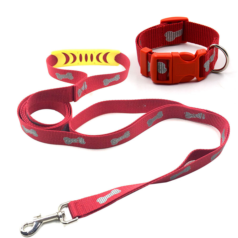 [Manufacturers Direct Selling] With Handle Bone Printed Night Light Reflective Tape Dog Traction Belt Nylon Tow Rope Puppy