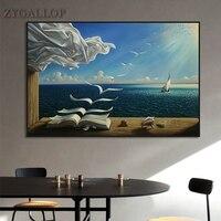 Salvador Dali Ölgemälde Die Wellen Buch Segelboot Wand Gemälde Auf Leinwand Poster und Drucke Wand Kunst Bilder Hause Dekoration