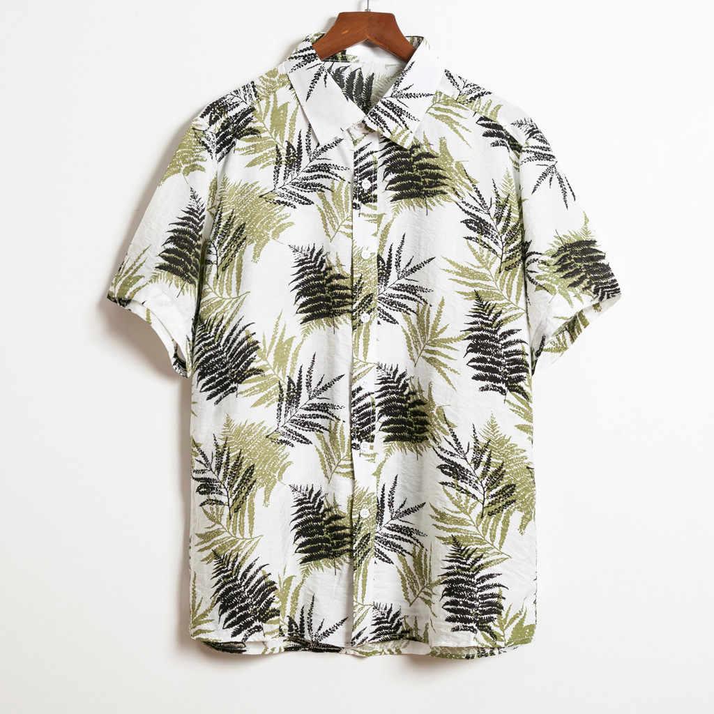 Большие размеры мужские рубашки 2019 новые летние мужские s с коротким рукавом Гавайские хлопковые повседневные цветочные рубашки ВОЛНА обычная мужская одежда мода