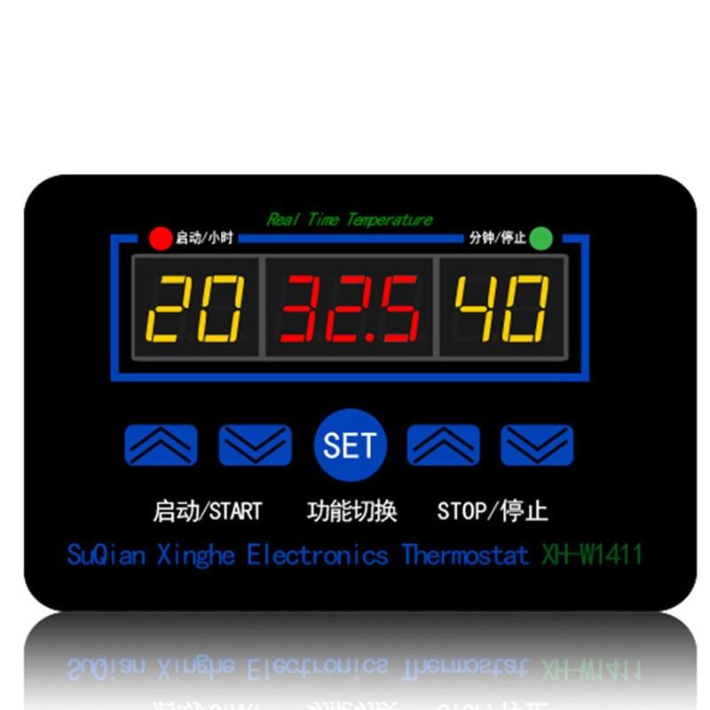 XH-W1411 220V Digital Temperature Controller Three Windows Display Multi-Function Temperature Control Switch