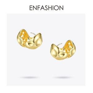 Image 5 - ENFASHION Punk Fußball Hoop Ohrringe Für Frauen Gold Farbe Kleine Kreis Ball Geschmolzenen Hoops Ohrringe Modeschmuck Aros E191103