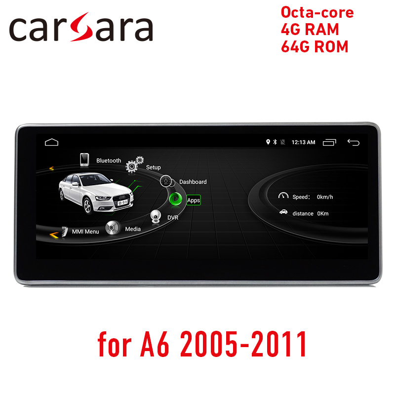 <font><b>Android</b></font> raido update for Aud i <font><b>A6</b></font> 2005 to 2011 octa core 4G RAM 64ROM touch screen GPS Navigation stereo dash multimedia player image