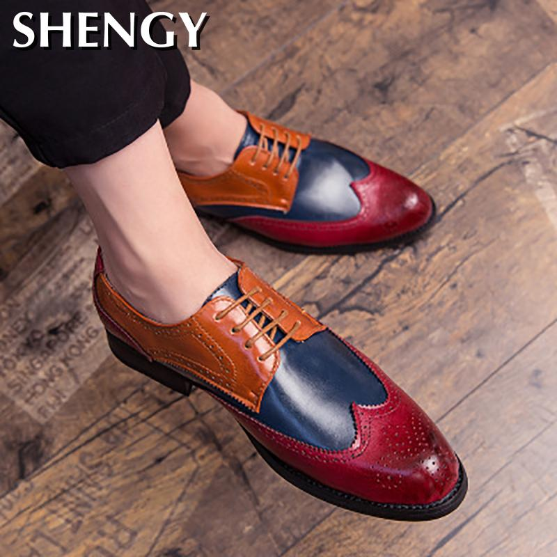 Details about  /38-48 Mens Low Top Business Leisure Faux Leather Shoes Brogue Oxfords Work New L