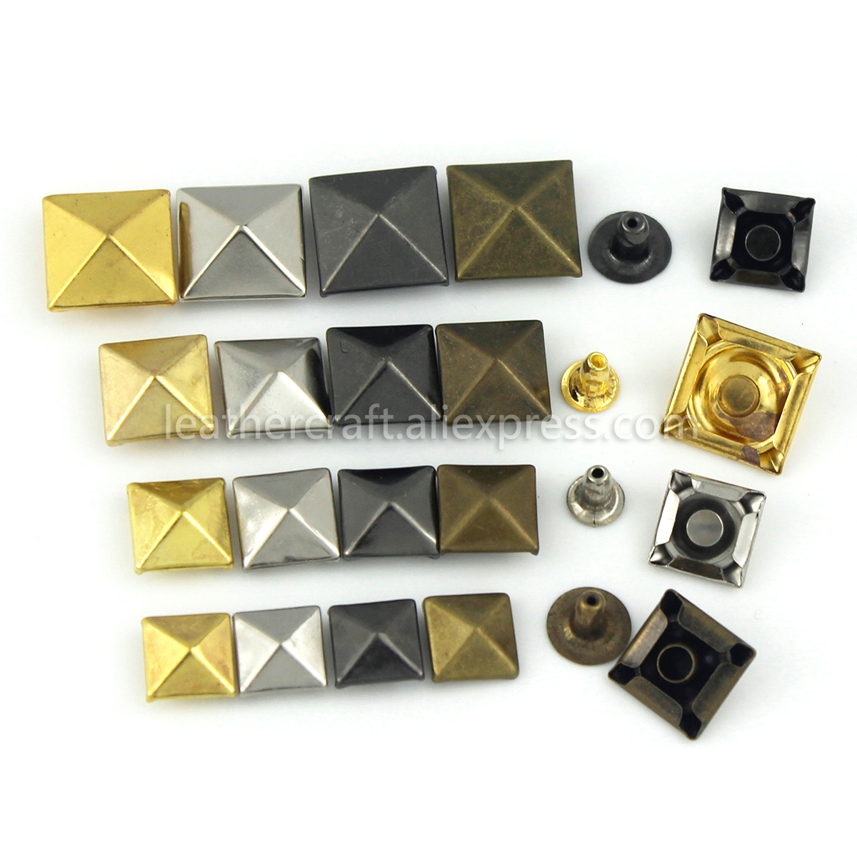100sets Metal Pyramid Cap Rivets Studs Square Rivet for Leather Craft Bag Belt Clothing Garment Shoes Pet Collar Decor