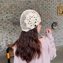 Mão-tecido laço recorte respirável quatro estações chapéu all-matching elegante elegante toque melão casca de malha chapéu