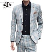 Plyesxale Autumn Men Plaid Suit Latest Coat Pant Designs High Quality Wedding Suits For Men Elegant 2 Piece Costume Homme YM5