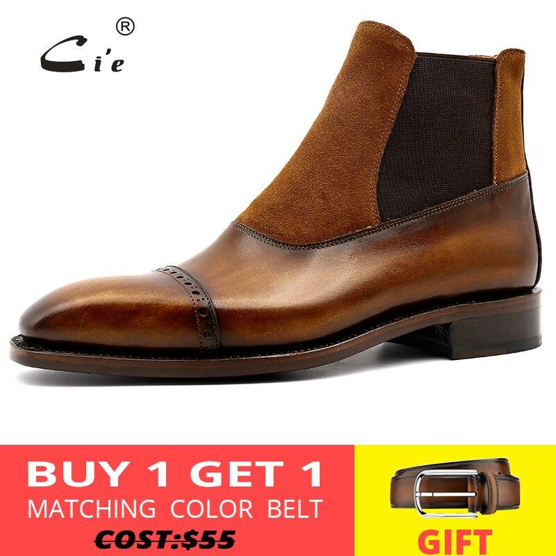 Cie carré cap orteil pleine fleur véritable cuir de veau botte patine marron fait à la main en cuir élastique bande hommes bottine A03