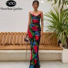 Платье Макси женское с цветочным принтом воротником хомутом