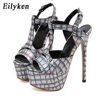 Eilyken mode paillettes femmes plate-forme sandales 17CM Super haut talon été Sexy Peep orteil boucle sangle Stiletto parti chaussures pompes
