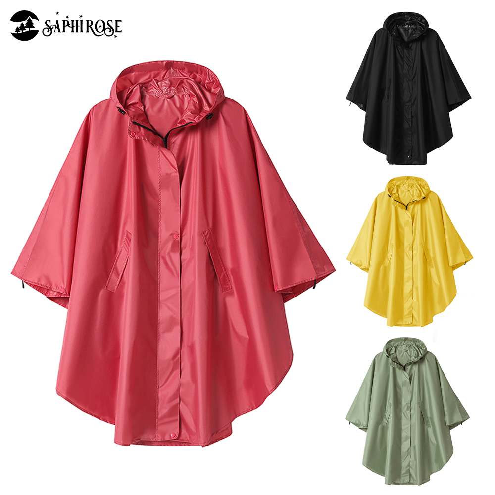 Women's Raincoat Poncho Zippered Hooded Waterproof Rain Jacket