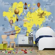 Milofi custom 3D wallpaper mural children cartoon world map background wall large