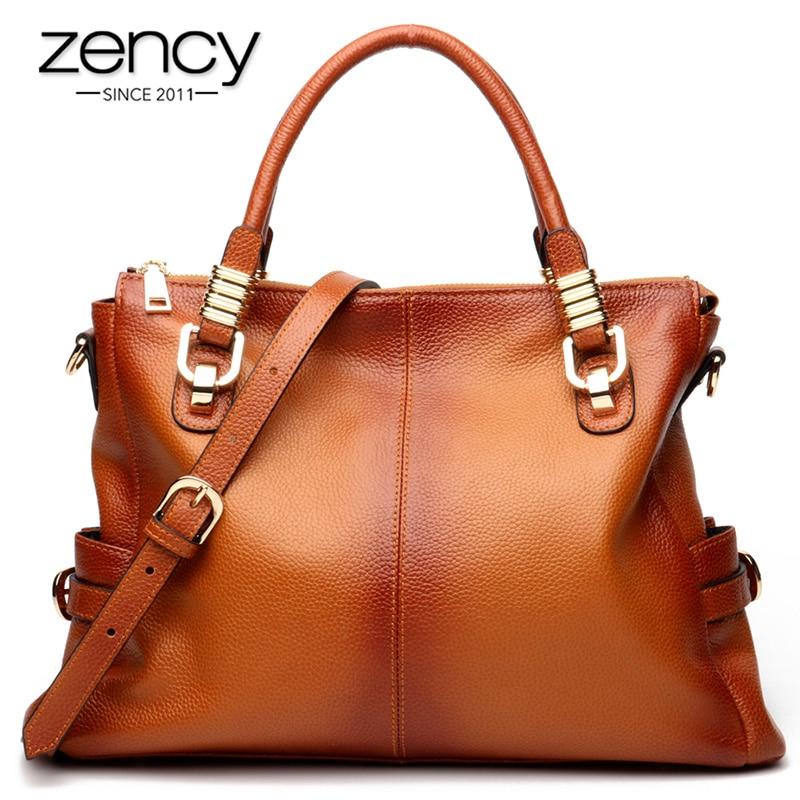 Zency 100% Genuine Leather Gradient Spray Women Tote Handbag Retro Brown Large Capacity Lady Shoulder Bags High Quality Big Bag
