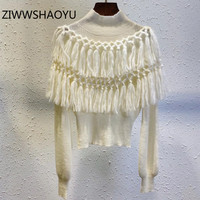 ZIWWSHAOYU Fashion Women Autumn Winter Turtleneck Knitting Pullover Vintage Tassel Mohair White Sweater Jumper