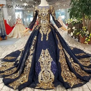 Image 1 - Navy Blue Long Sleeves Ball Gowns Wedding Dresses 2020 Arabic Muslim African Black Skin Gold Lace Vintage for Bridal Women Wear