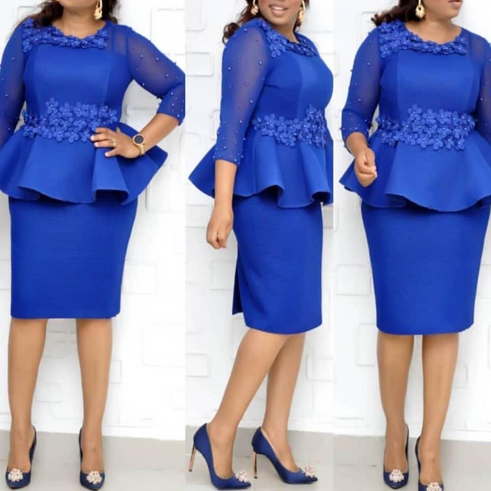 Elegant Fall Rose Beading Office Women Dress