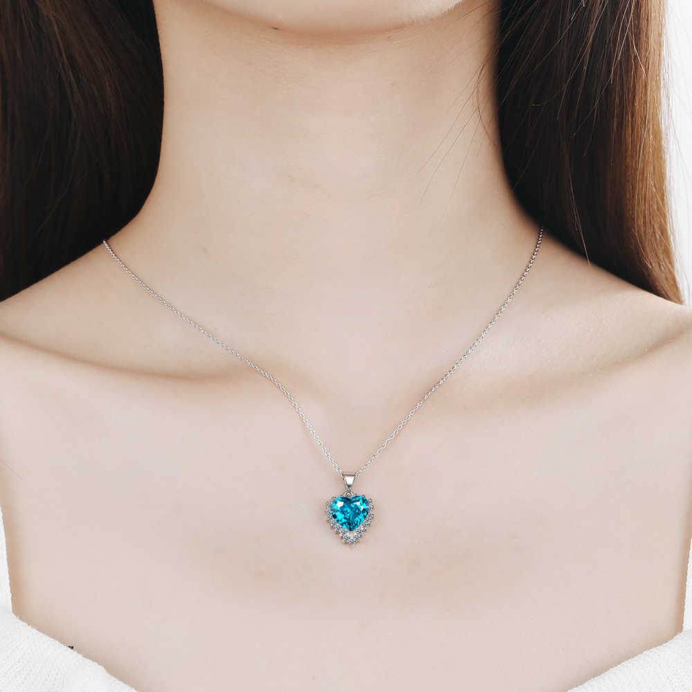 ANENJERY Classic Blue Red Heart Shaped Pendant Necklaces For Women 925 Sterling Silver Zircon Chain Necklace S-N438