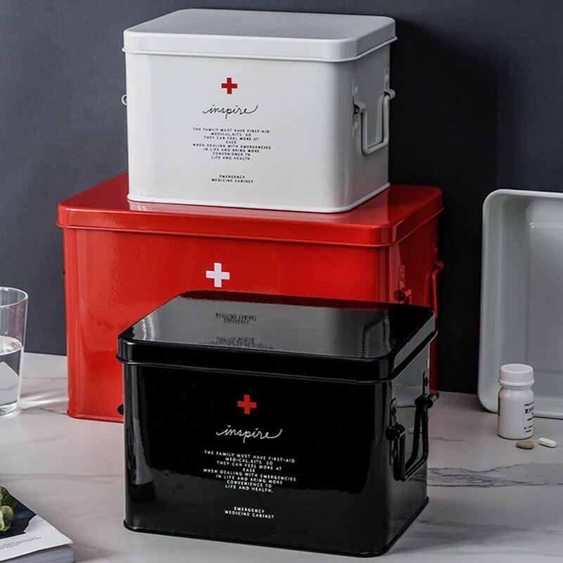Metal para Uso Doméstico Kit de Primeiros Socorros Caixa Médica Portátil de Acampamento Ao Ar Livre Suprimentos Médicos caixa de Ferramentas Caixa de Armazenamento Caixa de Armazenamento De Medicina Ambulatorial