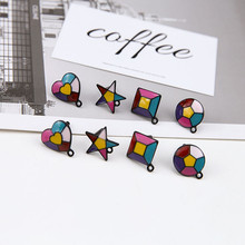 2pc new design hot-sales alloy spray paint color heart-shaped pendant star round stud earrings for women diy jewelry accessories