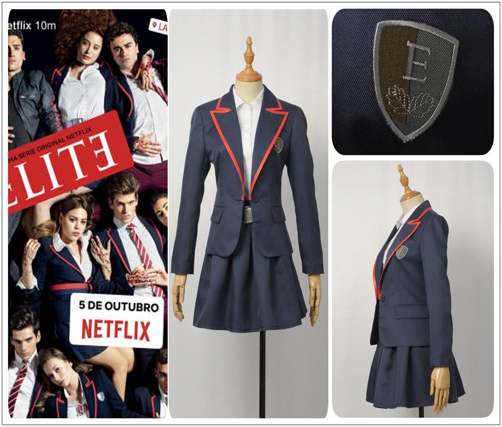 TV Series Elite School Uniform Blue Female Cosplay Costume Adult Women Jacket Shirt Girl Pleated Skirt School Uniform