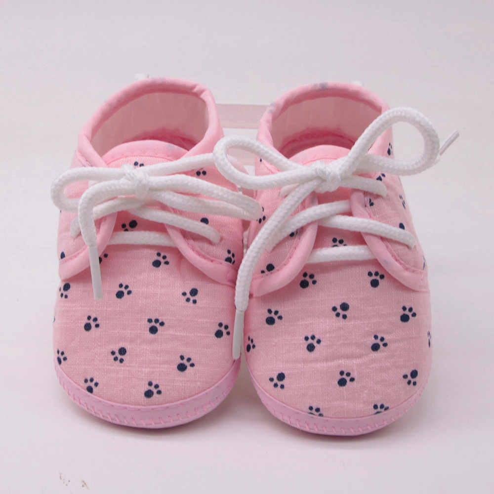 Newborn Baby Girls Shoes Letter Footprinted Plaid Soft Anti-slip Cotton Sole Footwear Lace-Up Crib Shoes Bebek Ayakkabi Sapato