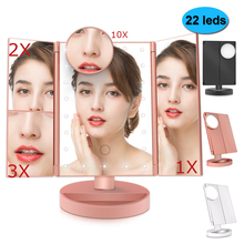 Makeup Mirror 22 LEDs Touch Screen Desktop 1X/2X/3X/10X Magnifying Mirrors Vanity 3 Folding Adjustable brightness