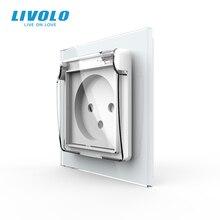 Livolo ישראל סטנדרטי כוח שקע, קריסטל זכוכית פנל, 16A תקע עם כיסוי עמיד למים, 3 סיכות plug