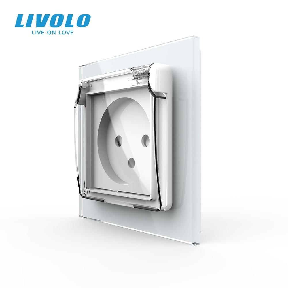 Livolo Israel Standard Power Socket,Crystal Glass Panel, 16A plug with Waterproof Cover,3pins plug