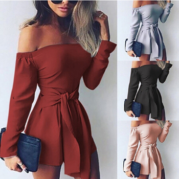 цена на GAOKE Women Off Shoulder Clubwear Summer Playsuit High Waist Lace-up Bodycon Party Jumpsuit Romper Trouser Short Pants