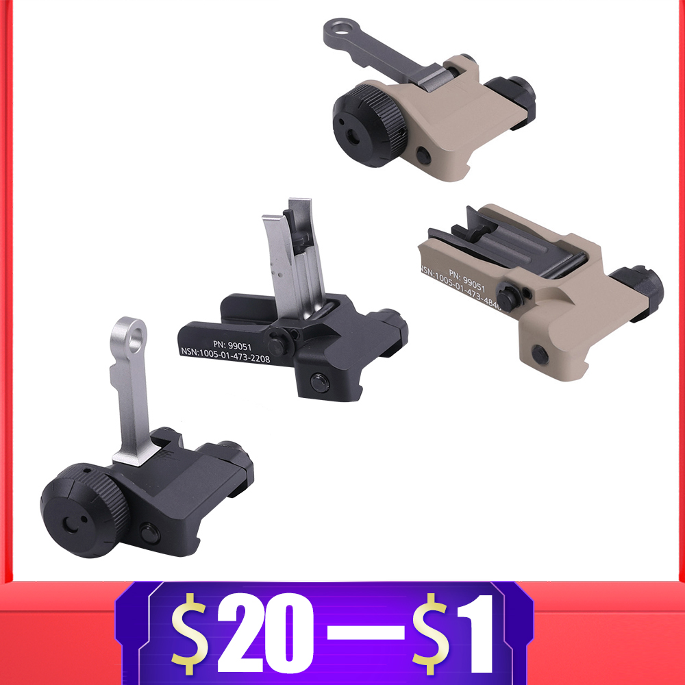 Tactical Folding Iron Sight  For KAC Style 300 Flip Up Folding Iron Sight Front Rear Sight For Airsoft AEG HK416 JinMing Hunting